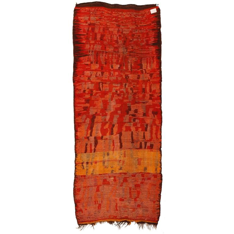 Early And Rare Abstract Rehamna Berber Carpet For Sale At