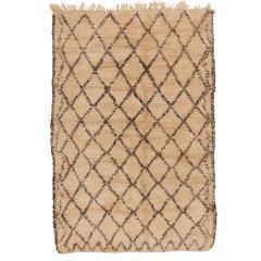 Vintage Small Beni Ouarain Berber Carpet