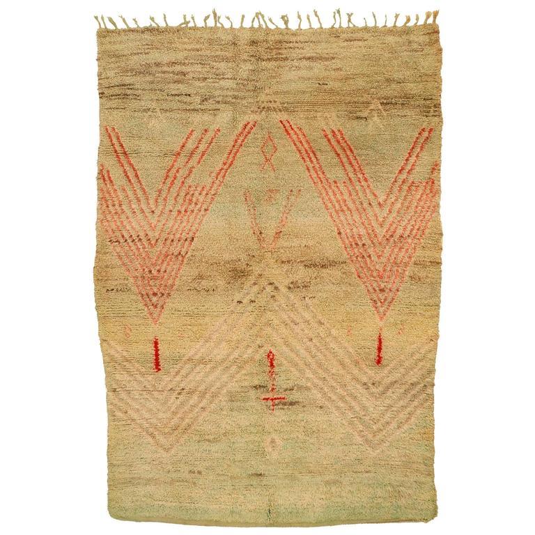 Rare Celadon Green Beni Mguild Berber Carpet