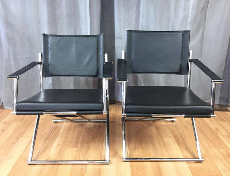 Incroyable An Ingeniously Designed Pair Of Modern Leather And Chrome Eureka Folding  Campaign Chairs Or Gliders By