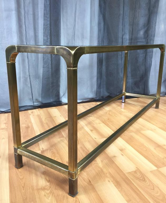 Mastercraft Brass And Glass Console Or Sofa Table At 1stdibs