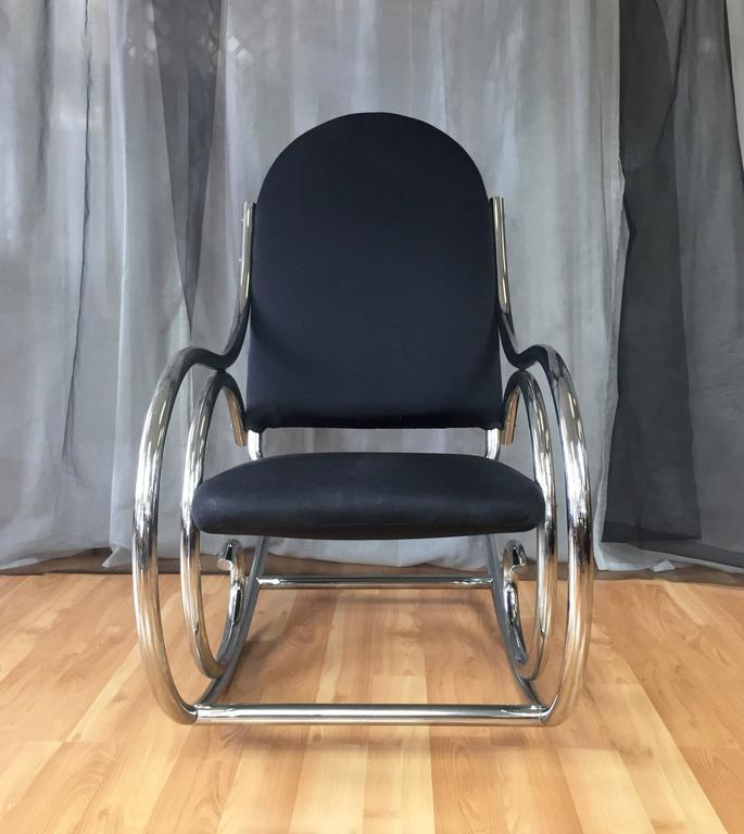 Modern Curvaceous Upholstered Chrome Rocking Chair In The Style Of Thonet  For Sale