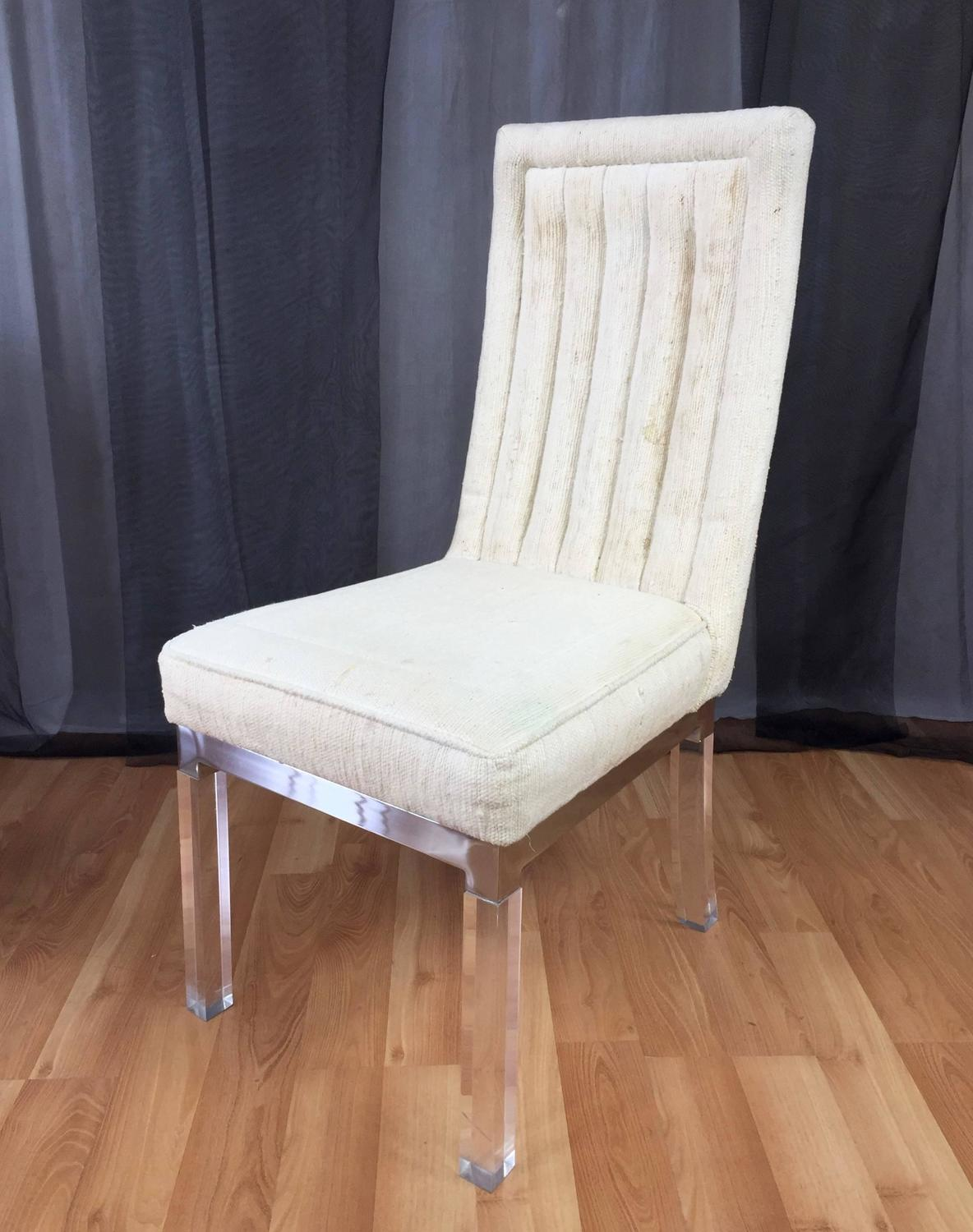 Six Piece Set Of Charles Hollis Jones Lucite Leg Dining Chairs For Sale At 1s