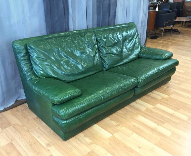 Vintage Roche Bobois Green Leather Sofa And Lounger At 1stdibs