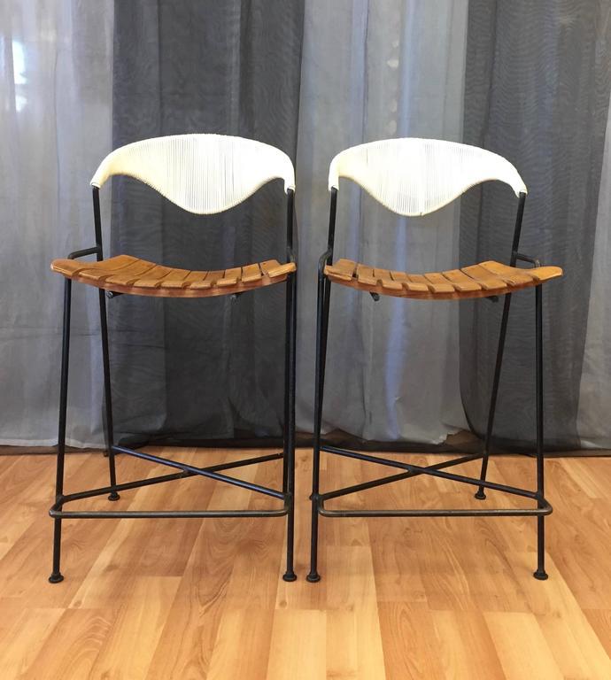 Pair Of Arthur Umanoff Iron And Birch Bar Stools For