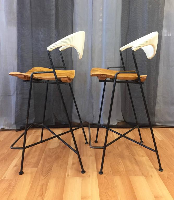 Pair Of Arthur Umanoff Iron And Birch Bar Stools For