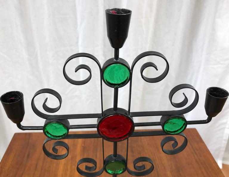 Gunnar Ander for Ystad-Metall Wrought Iron and Glass Candelabra In Good Condition For Sale In San Francisco, CA