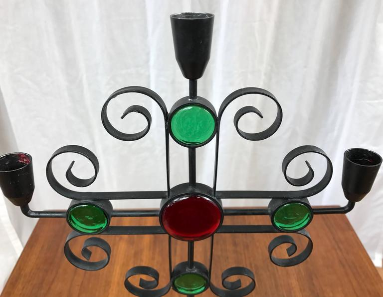 Mid-20th Century Gunnar Ander for Ystad-Metall Wrought Iron and Glass Candelabra For Sale
