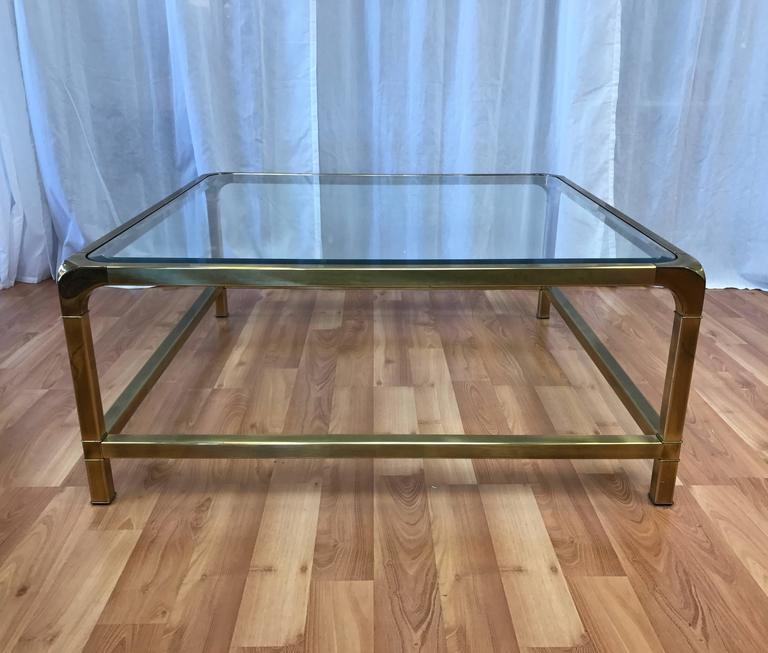 Mastercraft Extra Large Square Brass And Glass Coffee Table 2