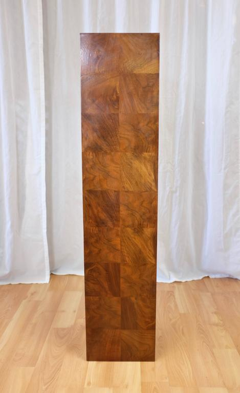 Modern Vintage Milo Baughman-Style Architectural Walnut Pedestal For Sale