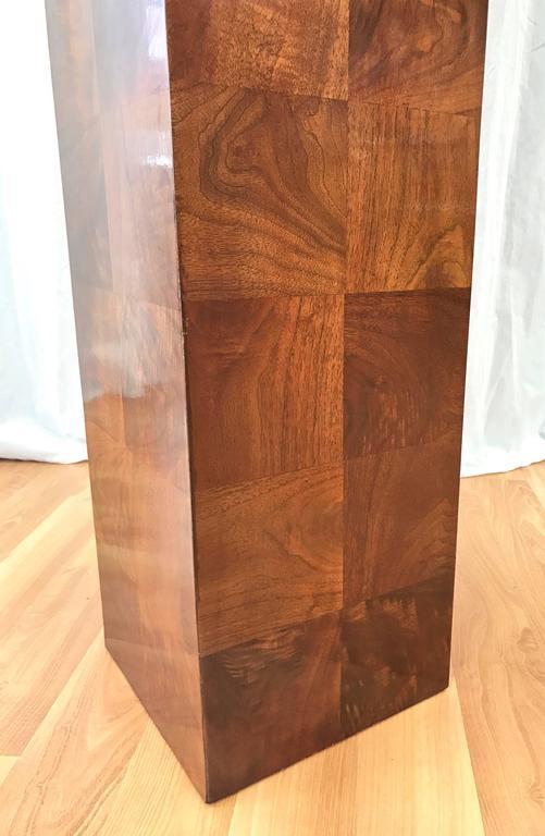 Wood Vintage Milo Baughman-Style Architectural Walnut Pedestal For Sale