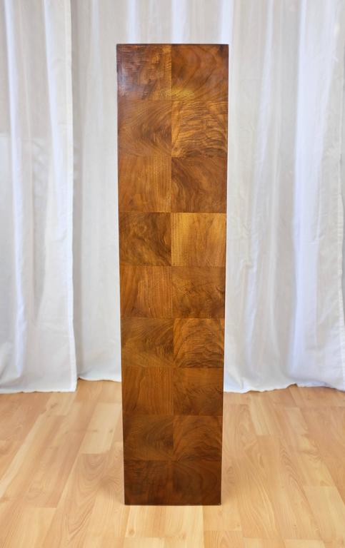 American Vintage Milo Baughman-Style Architectural Walnut Pedestal For Sale