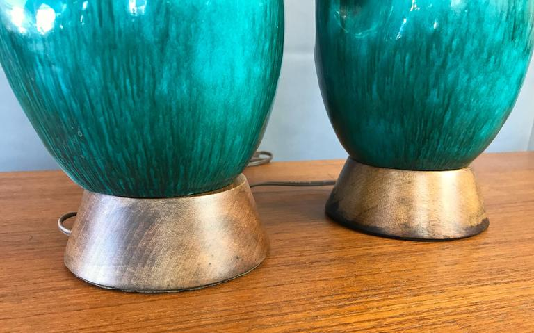 Pair of Marcello Fantoni Turquoise Ceramic Table Lamps For Sale 1