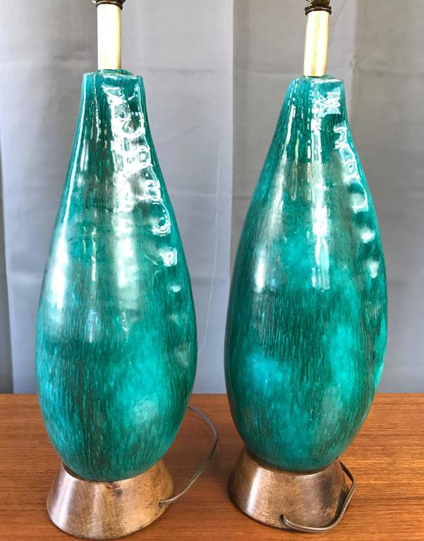 Mid-20th Century Pair of Marcello Fantoni Turquoise Ceramic Table Lamps For Sale