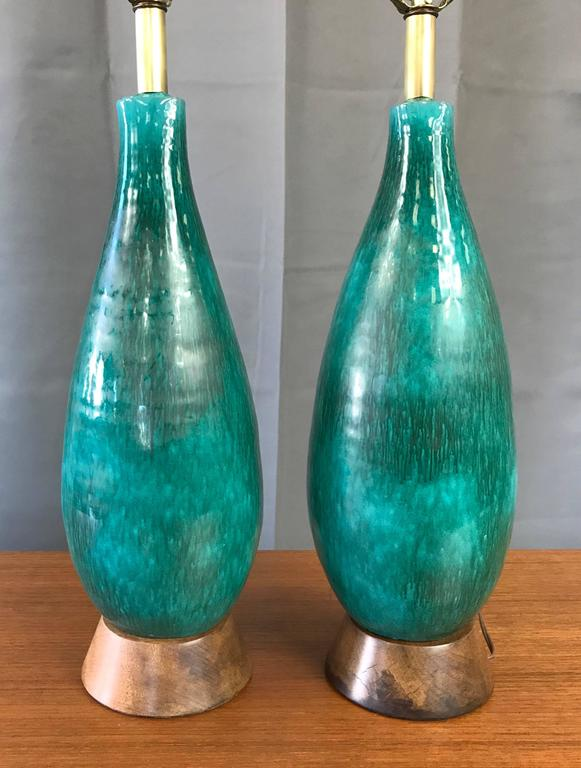 Pair of Marcello Fantoni Turquoise Ceramic Table Lamps In Good Condition For Sale In San Francisco, CA