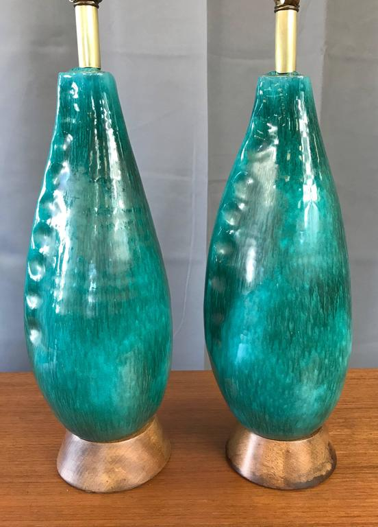 Italian Pair of Marcello Fantoni Turquoise Ceramic Table Lamps For Sale