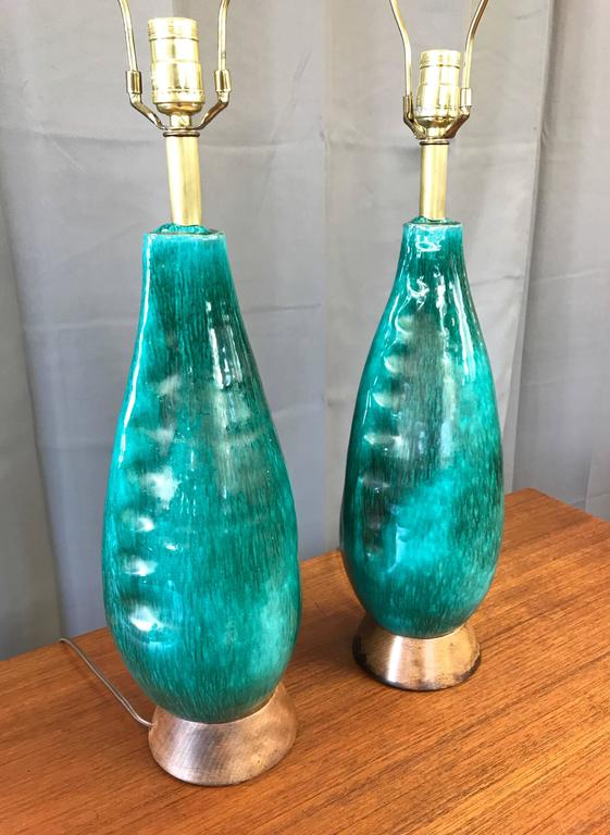 Mid-Century Modern Pair of Marcello Fantoni Turquoise Ceramic Table Lamps For Sale
