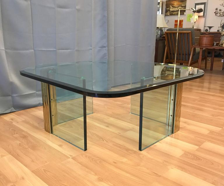 Asymmetrical Brass and Glass Coffee Table in the Style of Leon Rosen for Pace In Good Condition For Sale In San Francisco, CA