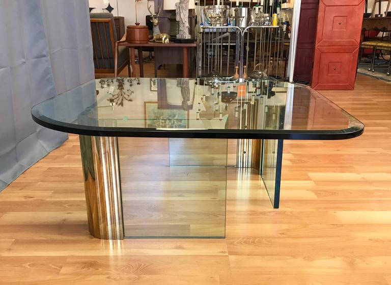 American Asymmetrical Brass and Glass Coffee Table in the Style of Leon Rosen for Pace For Sale