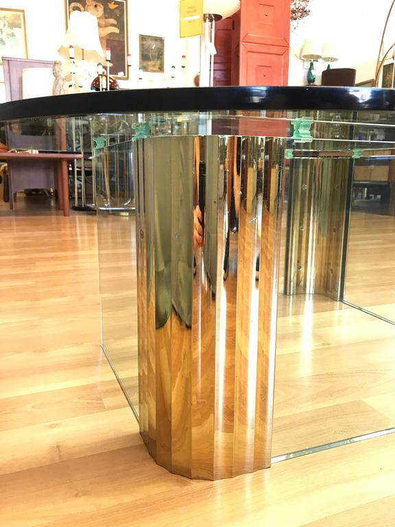 Asymmetrical Brass and Glass Coffee Table in the Style of Leon Rosen for Pace For Sale 3