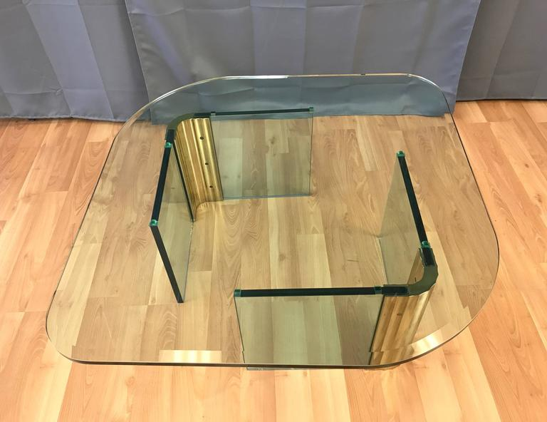 Modern Asymmetrical Brass and Glass Coffee Table in the Style of Leon Rosen for Pace For Sale