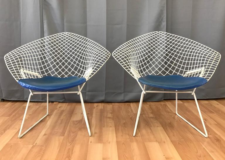 Pair Of Vintage Harry Bertoia Diamond Chairs For Knoll At