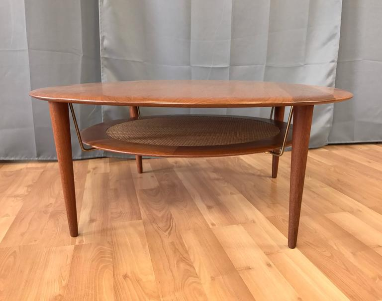 Scandinavian Modern Hvidt & Mølgaard-Nielsen for France & Søn Teak and Rattan Coffee Table For Sale