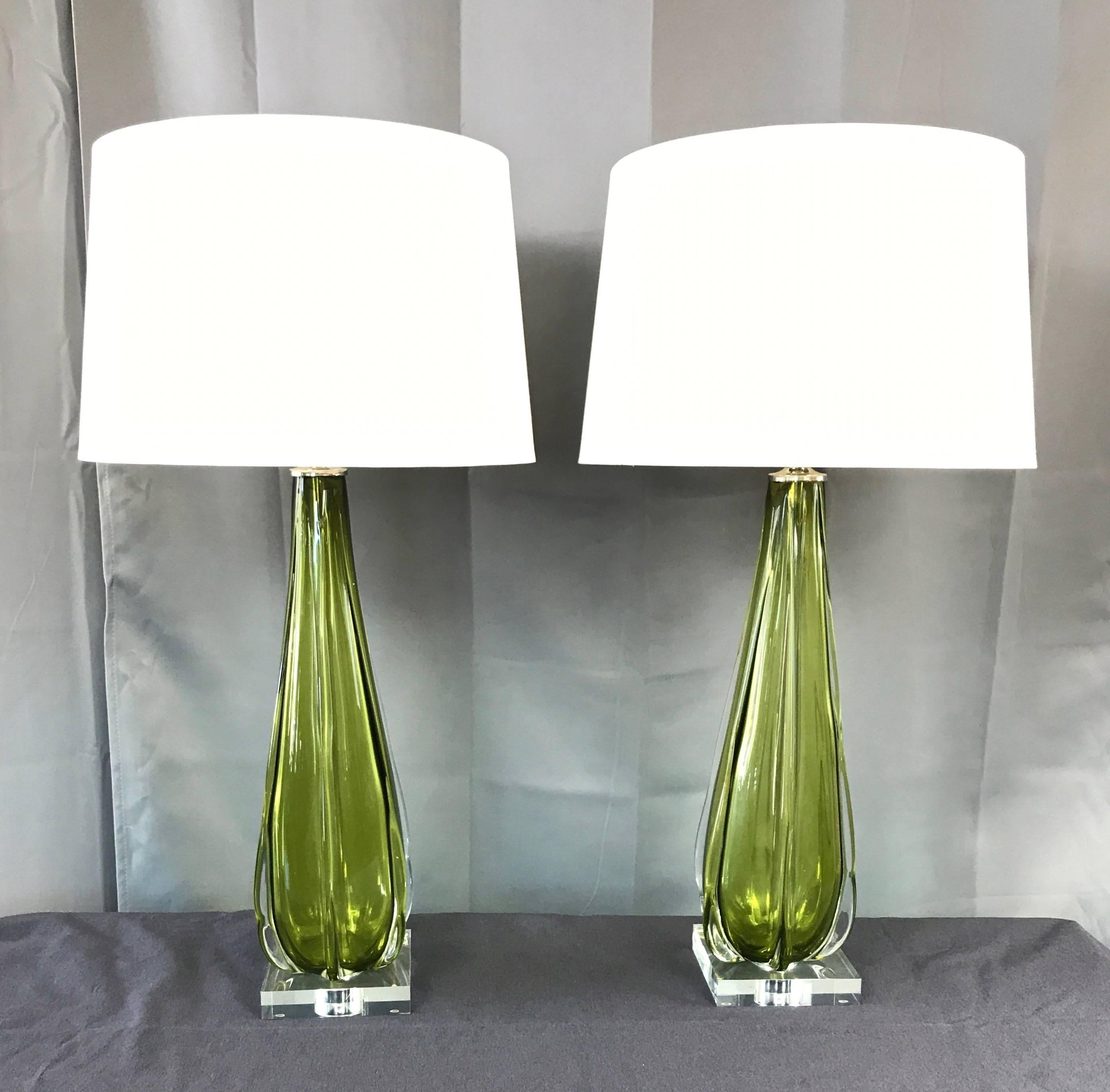 An Especially Elegant And Tall Pair Of Murano Glass Table Lamps With  Vintage Bodies By Seguso