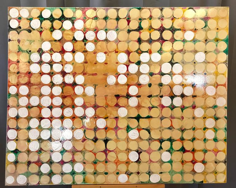 "A monumental 2004 Maximalist or Abstract Expressionist painted work on canvas titled ""Fruit Farm"" by Seattle-based materials oriented abstract artist Alan Fulle.