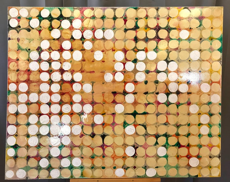 """A monumental 2004 Maximalist or Abstract Expressionist painted work on canvas titled """"Fruit Farm"""" by Seattle-based materials oriented abstract artist Alan Fulle.  Geometrically gridded series of 320 white and yellow dots appear to float and glow"""