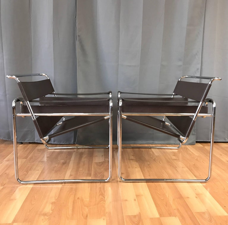 pair of vintage marcel breuer wassily chairs by gavina for knoll at 1stdibs. Black Bedroom Furniture Sets. Home Design Ideas