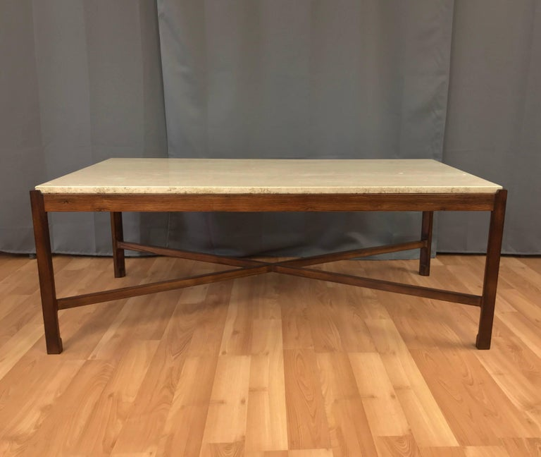 Solid Travertine Coffee Table: Danish Rosewood And Travertine Vintage Coffee Table At 1stdibs