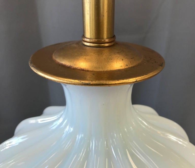 Mid-20th Century Seguso for Marbro Large Murano Glass Opaline Lamp For Sale