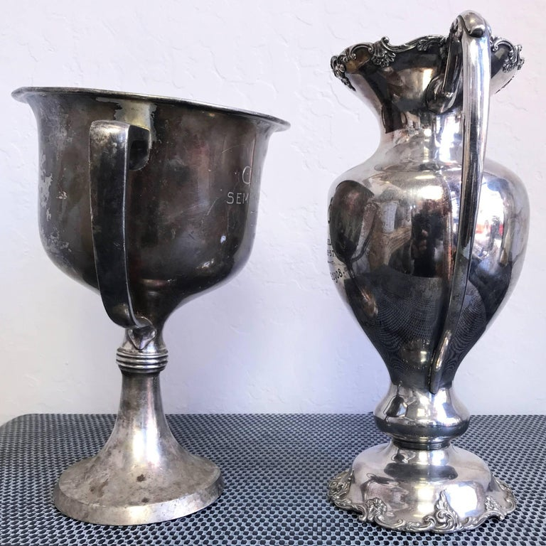 Group of Five Early 1900s California Bay Area Silverplate Cycling Trophies For Sale 5