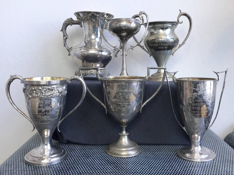 An historically important grouping of six Bay Area, California, silverplate cycling club trophies dating from 1903 to 1917.  A handsome collection of bicycle racing memorabilia, and a testament to San Francisco's and its nearby cities' indomitable