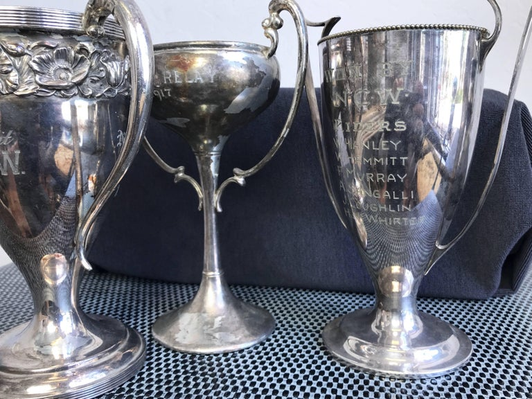 American Group of Six Early 1900s California Bay Area Silverplate Cycling Trophies For Sale