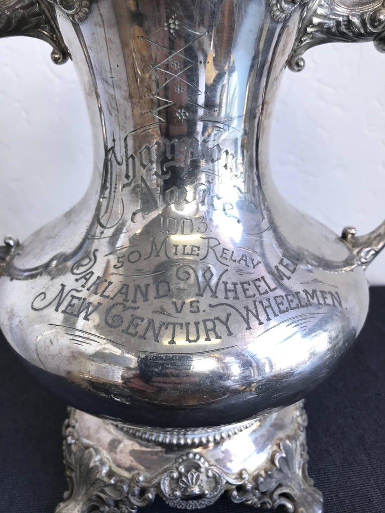 Early 20th Century Group of Six Early 1900s California Bay Area Silverplate Cycling Trophies For Sale