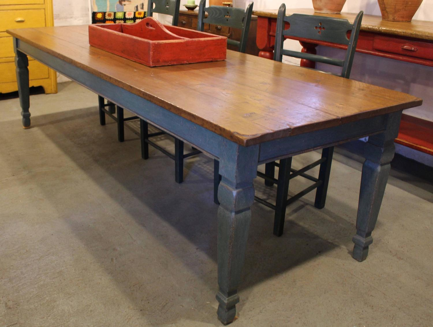 Long painted dining table from quebec at stdibs