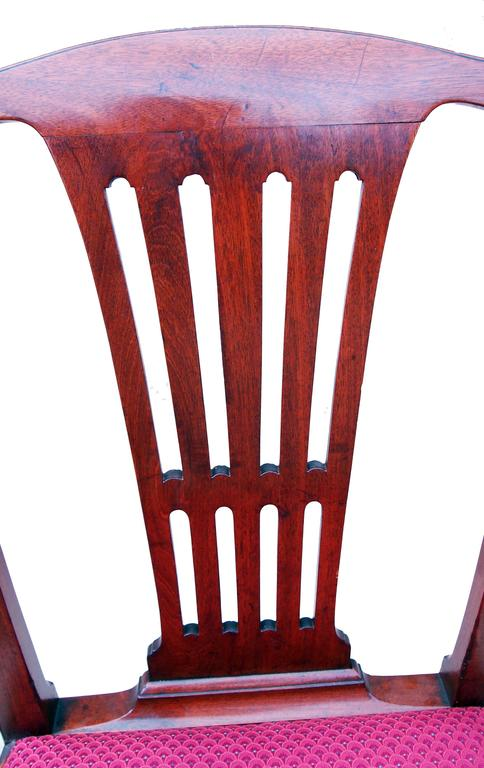 English Antique Set of Six Mahogany Georgian Chippendale Period Dining Chairs For Sale