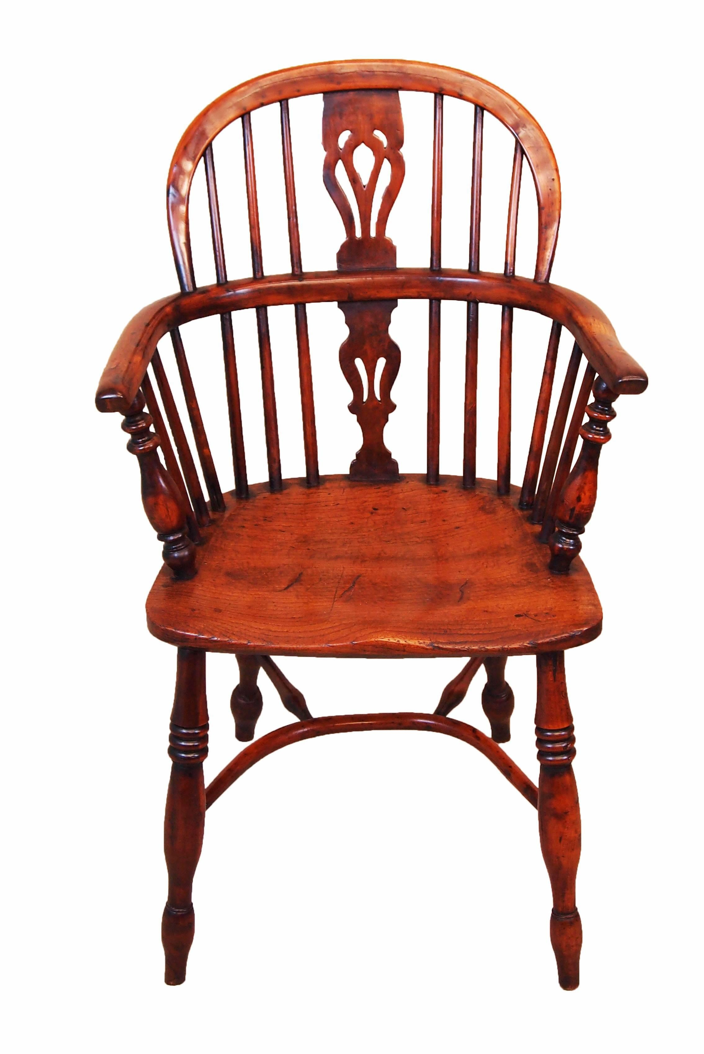 British Antique 19th Century Matched Set Of Six Yew Wood Windsor Chairs For  Sale