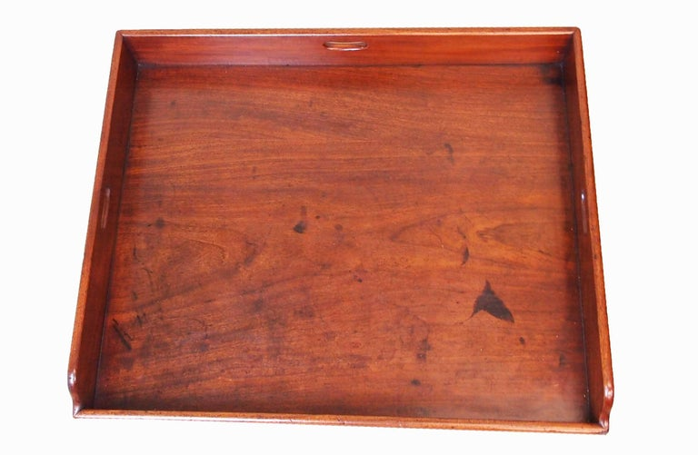 English Antique Georgian Mahogany Butlers Tray on Stand For Sale
