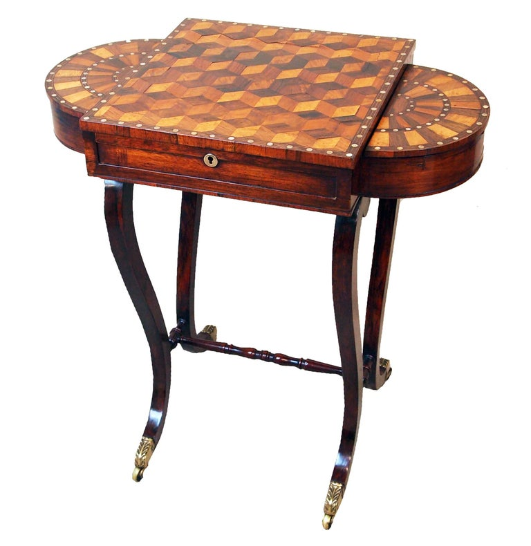 Antique Regency Rosewood and Parquetry Work Table