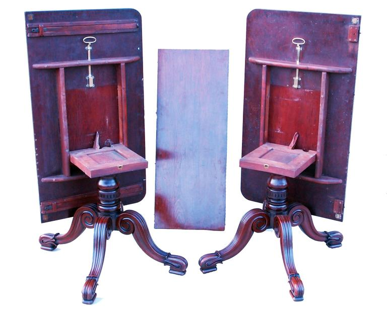 Antique Late Regency Mahogany Twin Pillar Dining Table In Good Condition For Sale In Bedfordshire, GB