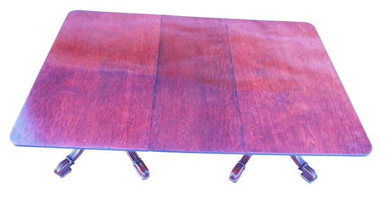 19th Century Antique Late Regency Mahogany Twin Pillar Dining Table For Sale