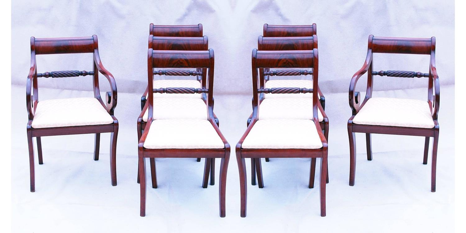 regency mahogany set of eight dining chairs for sale at 1stdibs