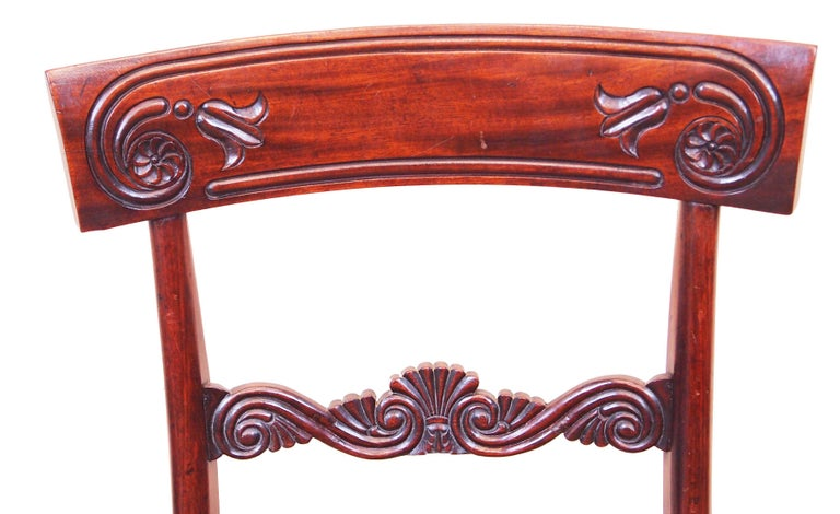 19th Century Antique Regency Mahogany Set of Dining Chairs For Sale