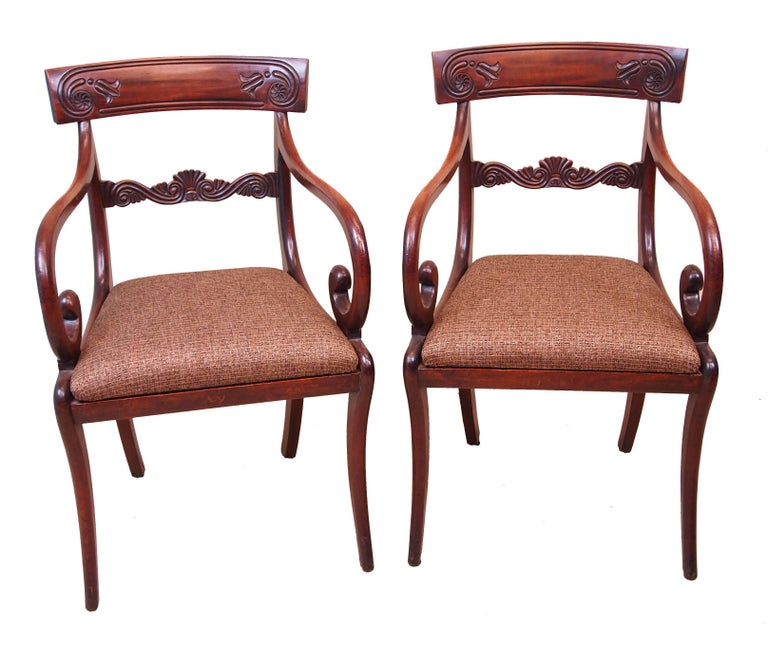 Antique Regency Mahogany Set of Dining Chairs In Good Condition For Sale In Bedfordshire, GB
