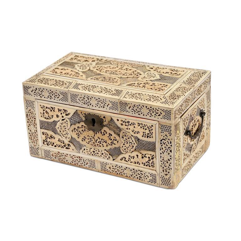 Decorative Bone Boxes : Copper mounted veneered wood box decorated with bone