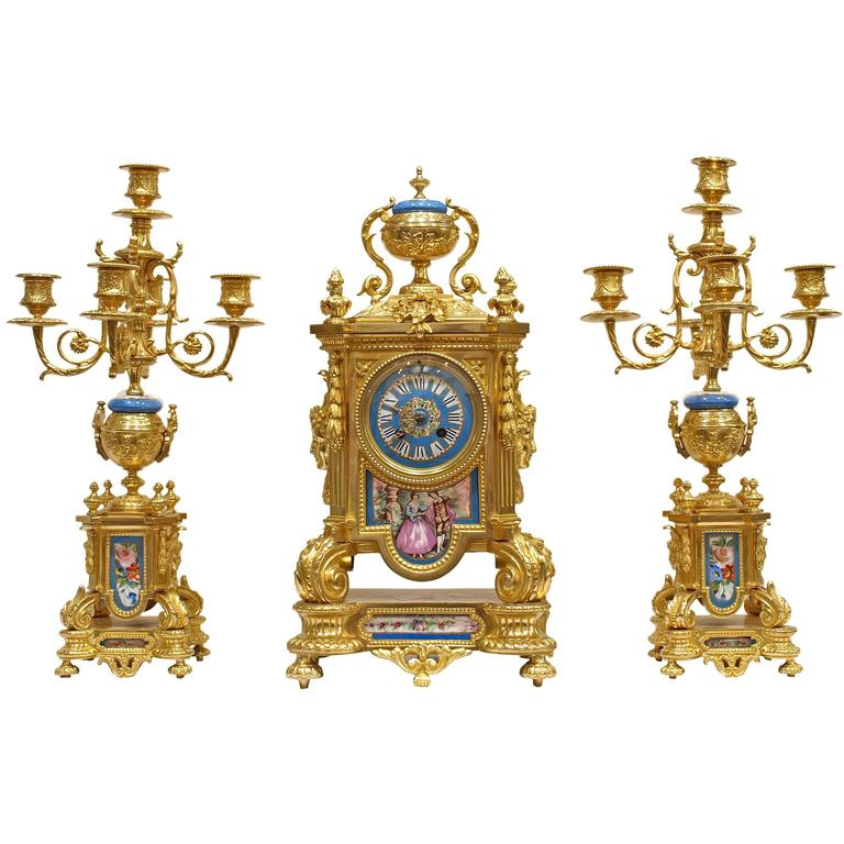 Sevres Style Porcelain Mounted Ormolu Three-Piece Clock Set