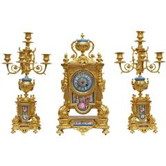 Sevres Style Porcelain Mounted Ormolu Three-Piece Clock Set